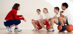 Picture of a Basketball Coach with pupils