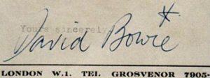 firma di David Bowie.